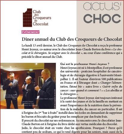 Dîner annuel du Club des Croqueurs de Chocolat